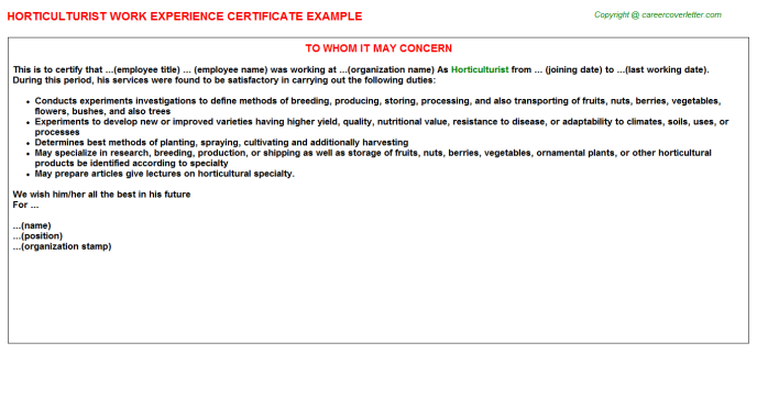 Horticulturist Experience Letter Template