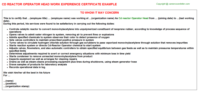 cd reactor operator head experience letter template