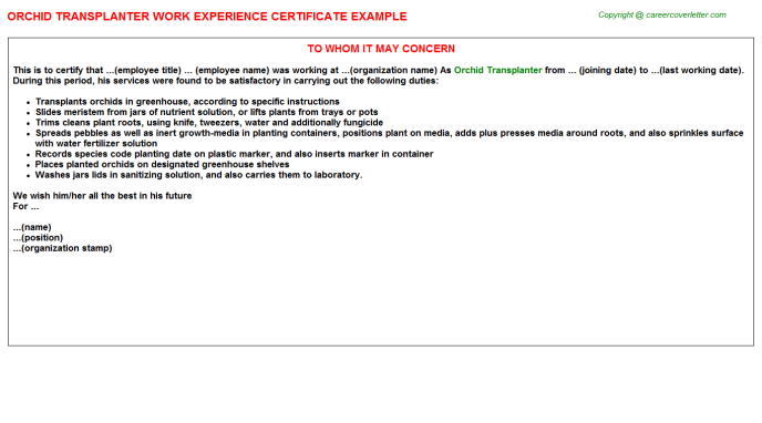 orchid transplanter experience letter template