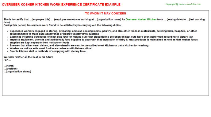 Overseer Kosher Kitchen Experience Letter Template