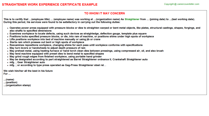 Straightener Experience Letter Template