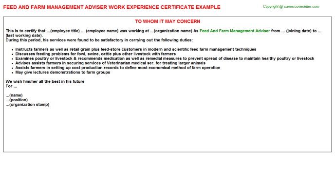 Feed And Farm Management Adviser Experience Letter Template