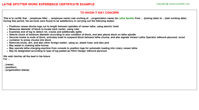 lathe spotter experience letter template
