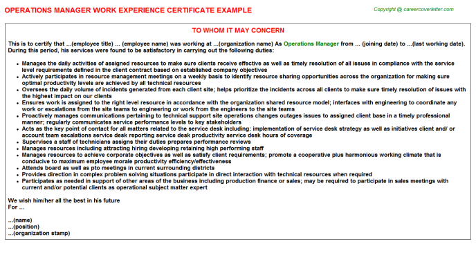 operations manager experience letter template