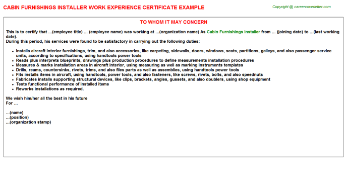 Cabin Furnishings Installer Experience Letter Template