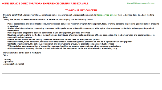 Home Service Director Experience Letter Template