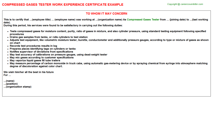 compressed gases tester experience letter template