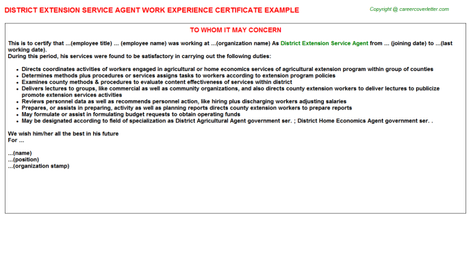 District Extension Service Agent Work Experience Certificate Template