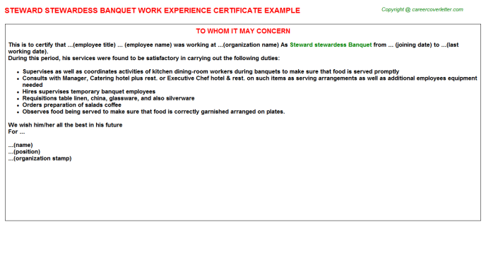 Steward Stewardess Banquet Work Experience Letter | Experience Letters