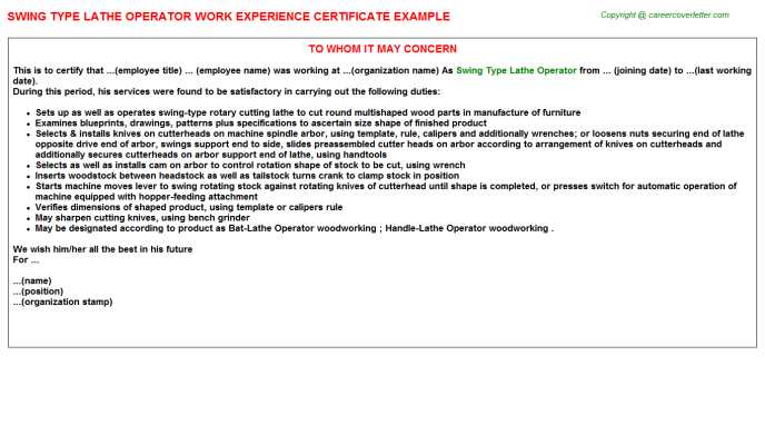 swing type lathe operator experience letter template