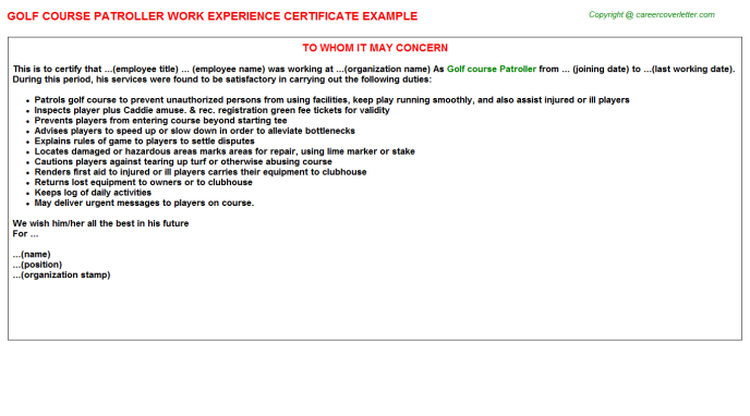 Golf Course Patroller Work Experience Certificate Template