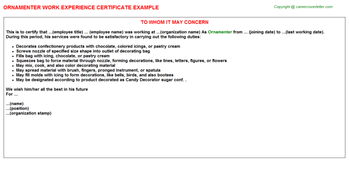 Ornamenter Experience Letter Template
