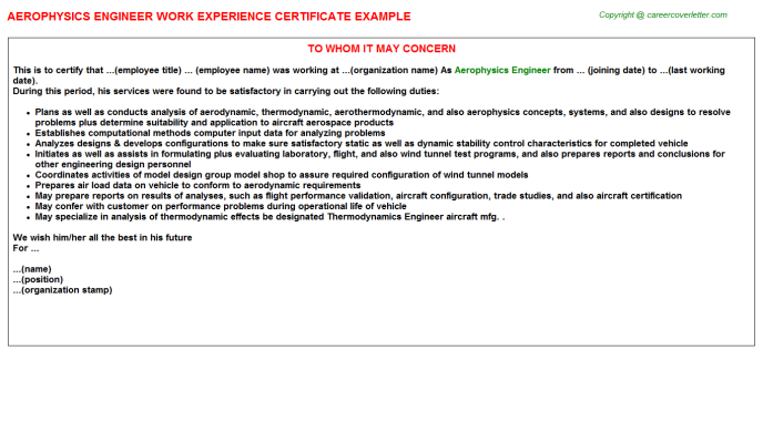 Aerophysics Engineer Work Experience Letter Template