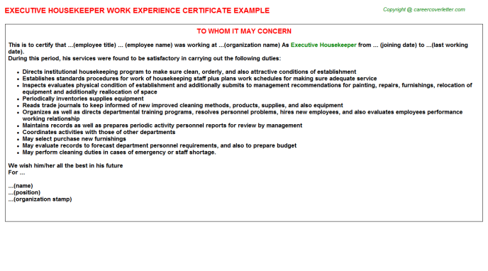 Executive Housekeeper Experience Letter Template