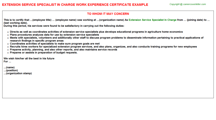 Extension Service Specialist in charge Experience Letter Template