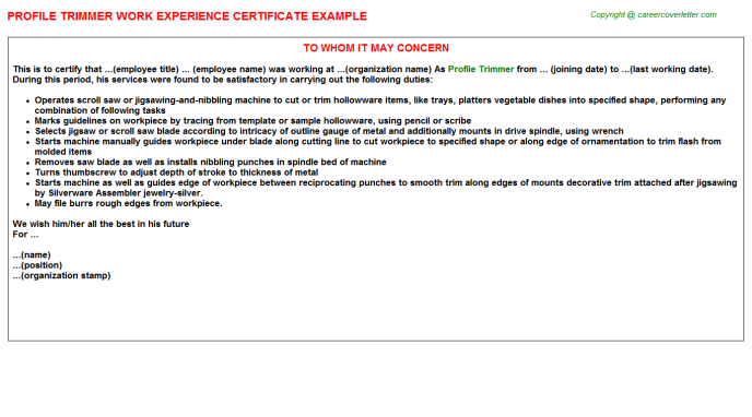 profile trimmer experience letter template