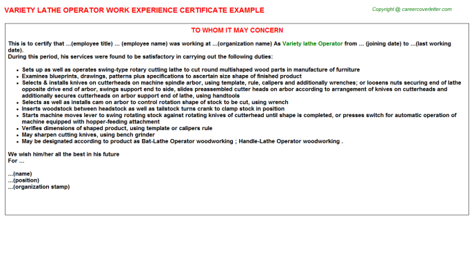 variety lathe operator experience letter template