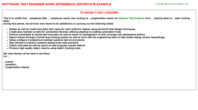 software test engineer experience letter template
