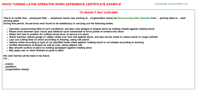 wood turning lathe operator experience letter template