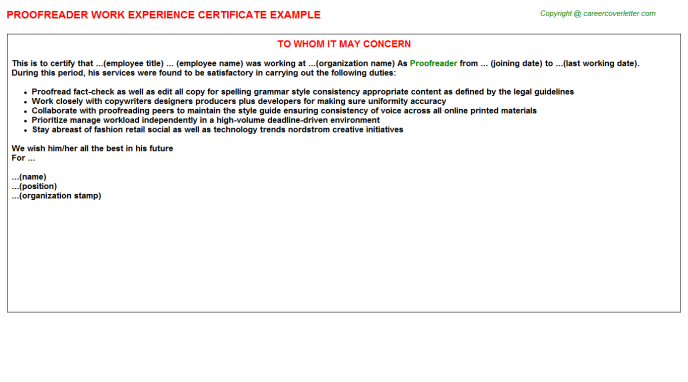 Proofreader Experience Letter Template