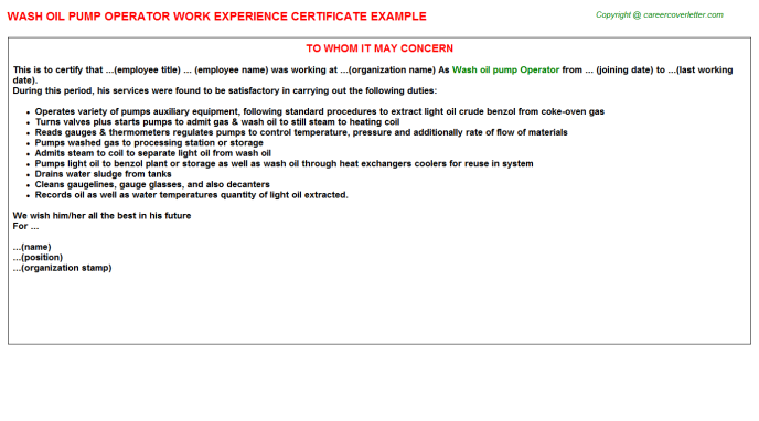 wash oil pump operator experience letter template