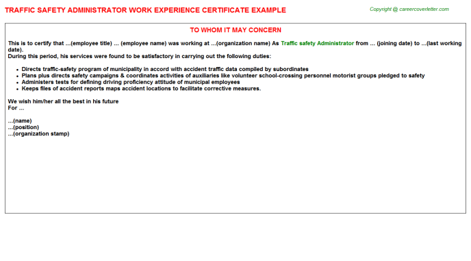 traffic safety administrator experience letter template