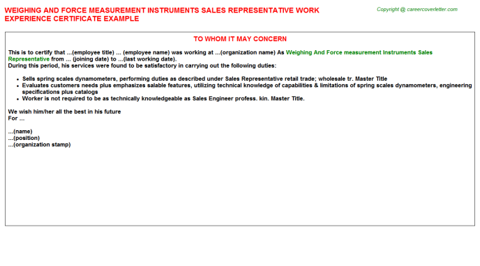 Weighing And Force Measurement Instruments Sales Representative Experience Letter Template