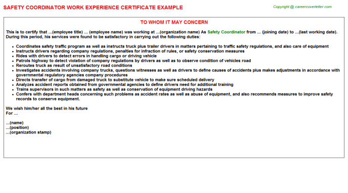 Safety Coordinator Experience Letter Template