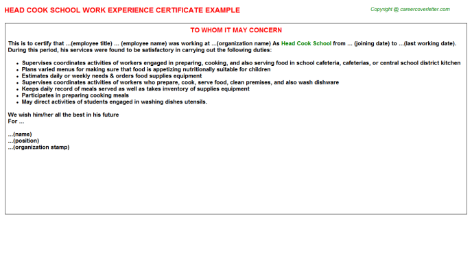 Head Cook School Experience Letter Template