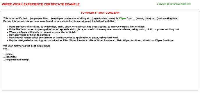 Wiper Experience Letter Template