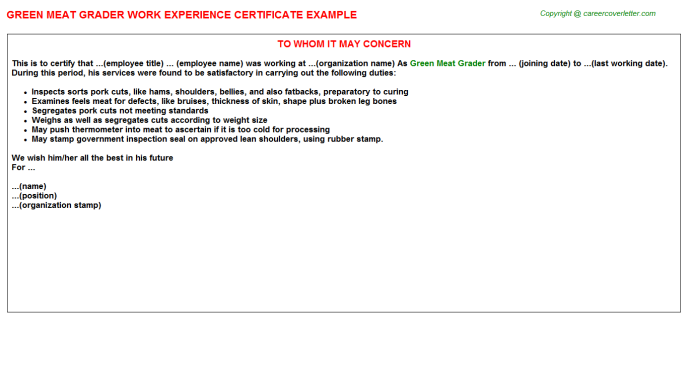 green meat grader experience letter template