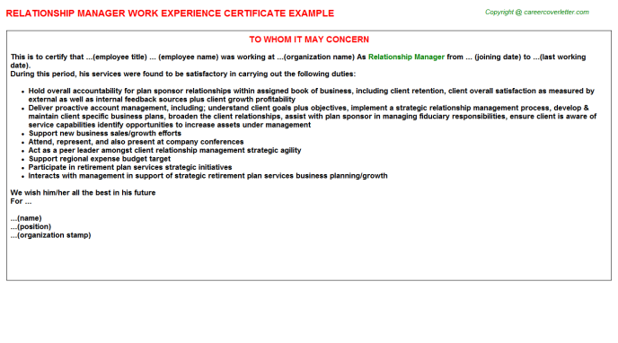 Relationship Manager Experience Letter Template