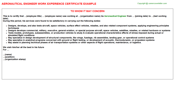 Aeronautical Engineer Work Experience Letter Template