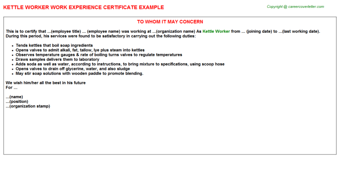 kettle worker experience letter template