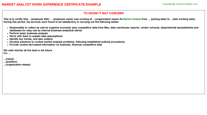 Market Analyst Experience Letter Template