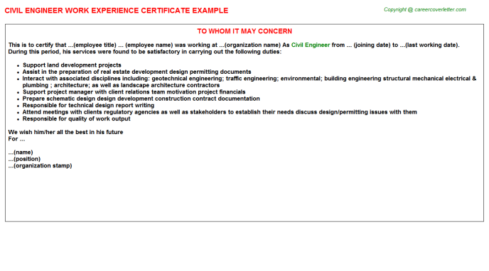 civil-engineer-work-experience-Letter Example Of Performance Appraisal Real on examples of counseling, examples of coaching, examples of discrimination, examples of recognition, examples of workplace violence, examples of leadership skills, examples of professional development, examples of human resources, examples of orientation, examples of background checks, examples of employee handbooks, examples of job satisfaction, examples of customer service, examples of employee relations, examples of job descriptions, examples of leadership development, examples of employee engagement, examples of safety, examples of recruitment, examples of induction,