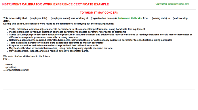 Instrument Calibrator Experience Letter Template