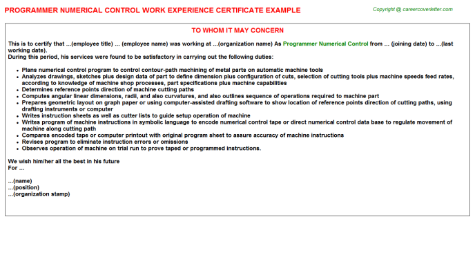 Programmer Numerical Control Experience Certificate Template