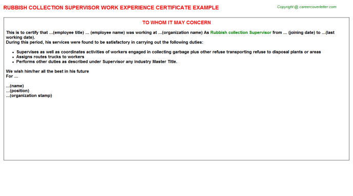 Rubbish Collection Supervisor Experience Certificate Template