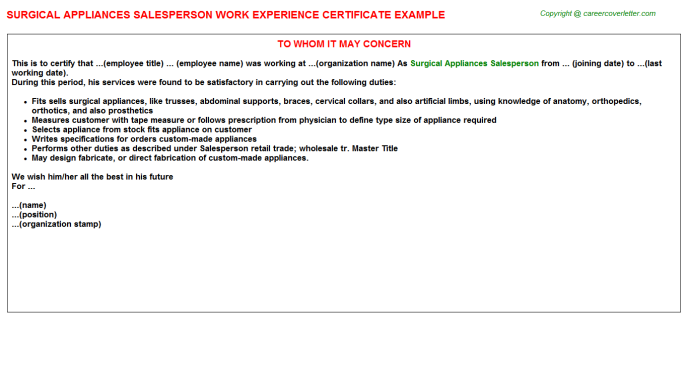 Surgical Appliances Salesperson Work Experience Letter Template