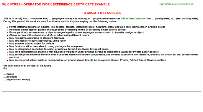 Silk Screen Operator Experience Letter Template