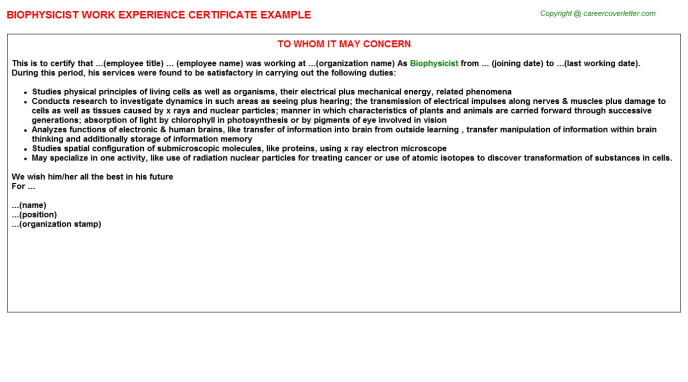 Biophysicist Experience Letter Template