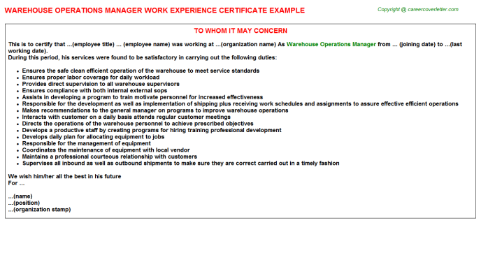 Warehouse Operations Manager Experience Letters
