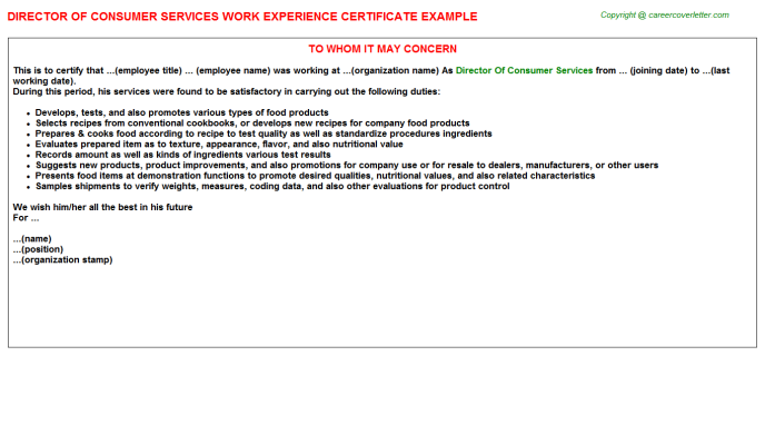 Director of consumer services work experience letter (#3204)