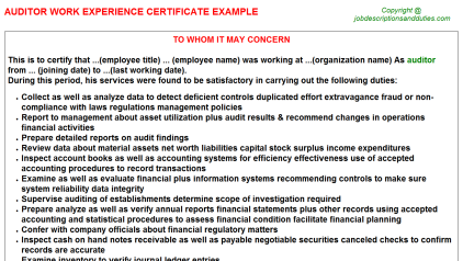 Auditor Work Experience Letter Template