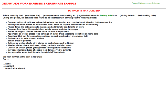 Dietary Aide Experience Letter Template