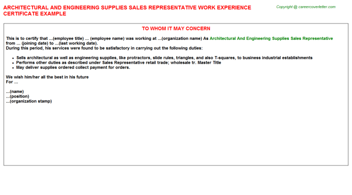 architectural and engineering supplies sales representative experience letter template