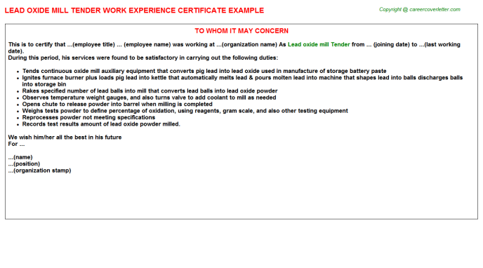 Lead Oxide Mill Tender Experience Letter Sample