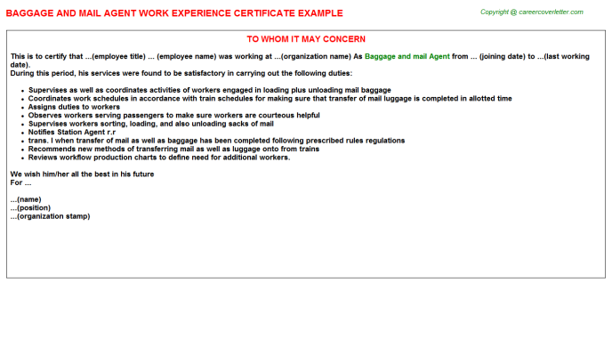 Baggage And Mail Agent Work Experience Certificate Template