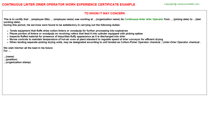 continuous linter drier operator experience letter template